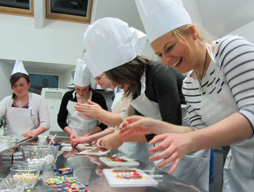 Hen Party Girls making chocolates