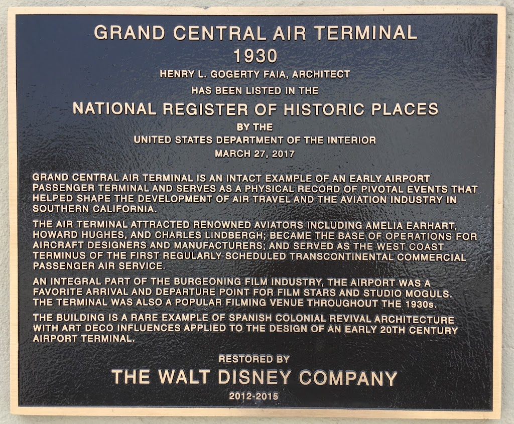 Grand Central Air Terminal is an intact example of an early airport passenger terminal and serves as a physical record of pivotal events that helped shape the development of air travel and the ...