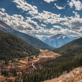 Rocky Mountain Pass by Jeremy Yoho - Landscapes Mountains & Hills ( stream, mountains, peak, snow, trees, road, valley, river, pass )