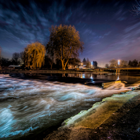 Bretenoux by Night by Stuart Wilson - Landscapes Waterscapes ( waterscape, lightpainting, long exposure, night, nightscape, river )
