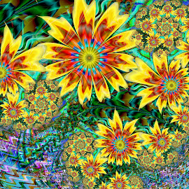 Sunflower Garden by Peggi Wolfe - Illustration Abstract & Patterns ( abstract, wolfepaw, jwildfire, gift, unique, bright, illustration, sunflower, bloom, fun, digital, blossom, print, décor, pattern, color, unusual, fractal, garden, floral, flower )