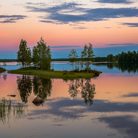 Summernight in pastel Swedish Lapland  by Ewa Nilsson - Landscapes Weather ( water, sweden, scandinavia, lapland, reflecion, trees, night, stones, landscape )