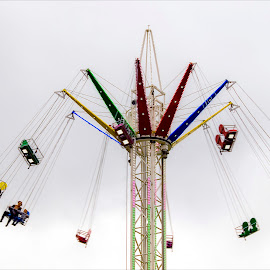 Lone rider by Zoot The-Tog - City,  Street & Park  Amusement Parks ( funfair, ride, sky, high, alone, fair, suspended )