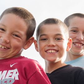 Brothers by Eva Ryan - Babies & Children Children Candids ( high_key, outdoors, boys, children, sunlight, smile, teeth, eyes, brothers,  )