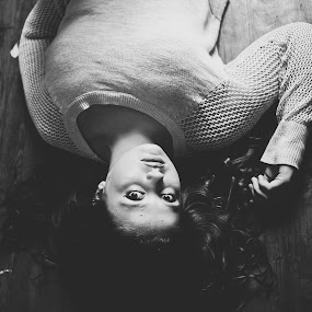 Contact by Annamarie Dearr - Black & White Portraits & People ( contrast, hardwood, floors, emotional, black and white, window light, lifestyle, windows, candid, natural, shadows, depth )