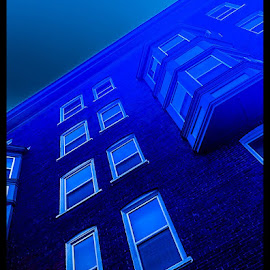 The House of Blues by Lisa Newberry - Digital Art Places ( building, blue, angled, architecture, apartments, tall )