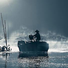 New Hope by Irwan Setiawan - Digital Art People ( fog, indonesia, digital art, morning, landscape )