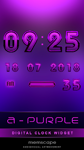 Digital Clock Widget A-PURPLE - screenshot