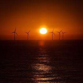 California Norfolk Sun Rise by Steve Cowling - Landscapes Sunsets & Sunrises ( steve cowling, california, norfolk, wind turbines, sunrise,  )