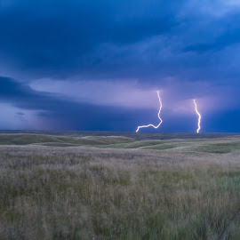 Lightning x2 by Tyler O'Connell - Landscapes Weather ( lightning, sky, grasslands, south dakota, country )