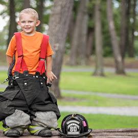 Jake by Tony Bendele - Babies & Children Child Portraits ( child, fire gear, firefighter, fireman, children, smile, helmet, people, fire, portrait )