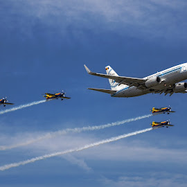 Blue by Sima Iulian - Transportation Airplanes ( sky, airplane, pasenger-plane, avioane )