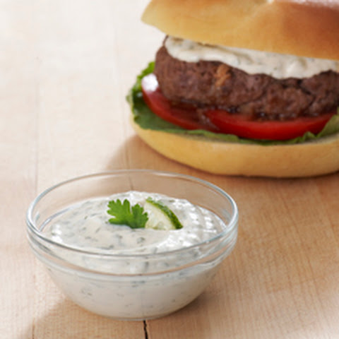 Best Ever Juicy Burger with Cilantro Lime Sauce