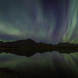 Mountain Lake by Palmi Vilhjalmsson - Landscapes Starscapes ( iceland, aurora, night )