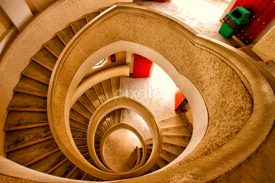 Spiral Staircase by Rafael Uy - Buildings & Architecture Architectural Detail ( stairs, spiral stairs, pagoda staircase, spiral, sg, singapore, chinese garden )