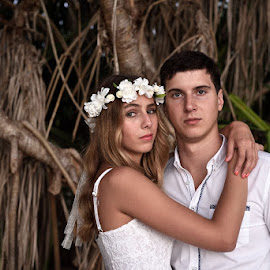 Headshot by Andrew Morgan - Wedding Bride & Groom ( zanzibar, wedding, trees, flowers, bride, bohobride, groom )
