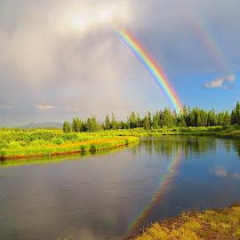 Paired Rainbows by Marilyn Kircus - Landscapes Weather ( clouds, stormy weather, rainbows, reflections, weather )