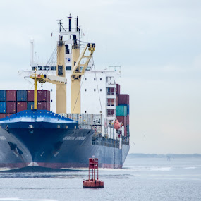 Ship Coming to Port by Thomas Shaw - Transportation Boats ( clouds, water, cranes, sky, waves, cape fear, ships, boat, cargo, north carolina, cape fear river, river )