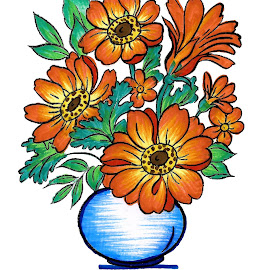 Floral Bunch by Arvind Syal - Drawing All Drawing ( art work, dimpy arts, calligraphy, handmade, sketchpen art, unique art, flowers, flower bunch )