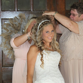 Fixing her Veil... by Michelle Brush - Wedding Getting Ready