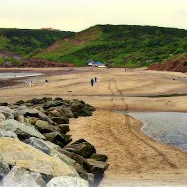 Tracks in the Sand by Gordon Westran - People Family ( sand, sea, tracks, beach, rocks, coast, sun )