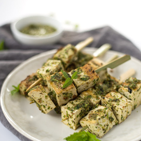 Grilled Tofu Kebobs with Mint Pesto