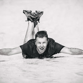 Derby Obstacle Race by Paul Clark - Sports & Fitness Other Sports ( water, fungi, black and white, event, slip, sllide, 10k, sport, man, xrunner, derbyshire )