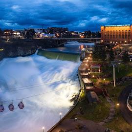 Spokane WA by Casey Bebernes - City,  Street & Park  Night