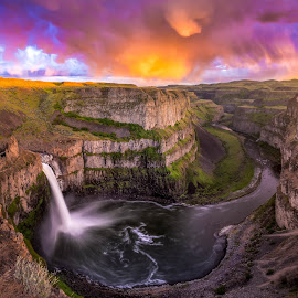 Square Palouse falls sunset by Nick Page - Landscapes Waterscapes ( palouse falls, color, sunset, waterfall, landscape )