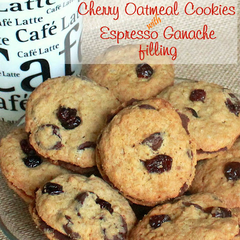 Cherry Oatmeal Cookies with Espresso Ganache