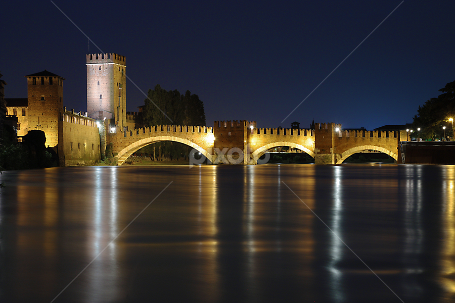 A Castle's Bridge by Giancarlo Ferraro - Buildings & Architecture Bridges & Suspended Structures ( old, night, castle, bridge )