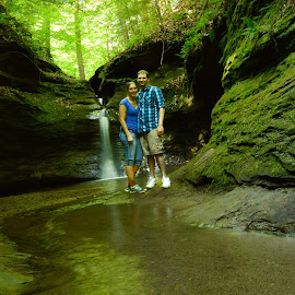 Friends in the making. by Rebekah Cameron - People Couples ( friends, nature, green, waterfall, happiness, people )