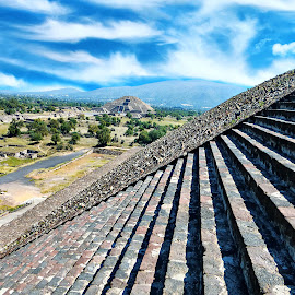 Teoticuahan Pyramid,Mexico by Nelida Dot - Buildings & Architecture Statues & Monuments ( blue sky, mexico, old, pyramid, antique, heritage, monument, architecture )