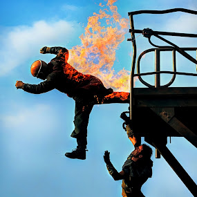 Man on fire  by Hussin Mohd Nor - News & Events World Events ( stuntman, man on fire )