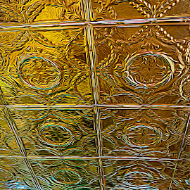 Golden Ceiling by Dale Fillmore - Abstract Patterns ( reflection, patterns, golden, abstract, colred lights )