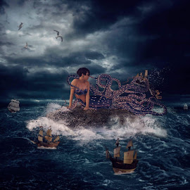 Her Ships by Chrystal Olivero - Digital Art People ( water, digital art, dark, sea, ocean, conceptual, portrait, manipulation )