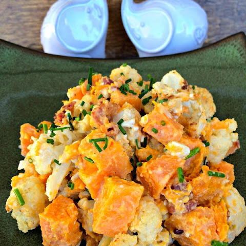 Bacon & Bleu Roasted Cauliflower and Sweet Potatoes