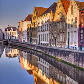 Sunset in Bruges by Peter Kennett - City,  Street & Park  Historic Districts ( canals, hdr, sunset, bruges, belgium, brugge,  )