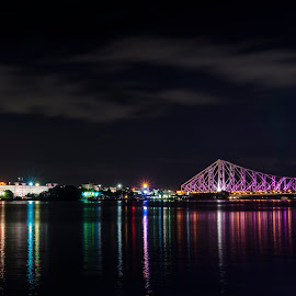 || আলোকের ঝর্ণাধারা || by Abhi Chatterjee - Buildings & Architecture Bridges & Suspended Structures ( ganga, skyline, reflection, nikon india, waterscape, reflections, beauty, cityscape, architecture, nikon d7000, tamron, city, lights, sky, city lights, india, nikon, the city of joy, evening, light, howrah bridge, water, west bengal, city scene, kolkata, beautiful, calcutta, color, no men, bridge, river )