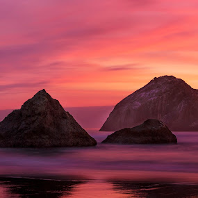 Bandon Beach Sea Stacks by Jim O'Neill - Landscapes Waterscapes ( oregon, bandon beach, sunset, long exposure, pacific northwest )