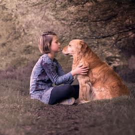 Best friends by Hilda Palm - Babies & Children Children Candids ( lovely, children, forest, dog, together )