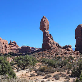 Balanced Rock by Tony Huffaker - Landscapes Deserts ( balanced, red, desert, arches national park, rock formation )