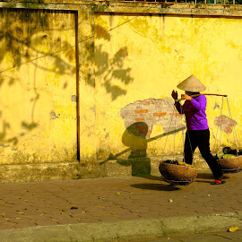 Going Home by Skip Nelson - People Street & Candids ( colors, hanoi, vietnam, yellow, shadows,  )