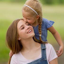 kisses by Wendy Berning - Babies & Children Child Portraits ( love, girls, sisters, girl, siblings )