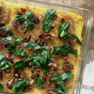 Polenta Bake With Caramelized Onions and Portobello Bacon [Vegan, Gluten-Free]
