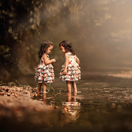 By The Creek by Lilia Alvarado - Babies & Children Toddlers ( calm, reflection, warm, copyspace, give, joy, cute, twins, love, share, sisters, nature, happy, frienship, childhood, light, water, brunettes, girls, discover, play, togetherness, candid, kids, rays, dress, summer, adorable, KidsOfSummer )