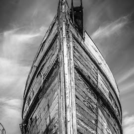 The Atlas by Michael Connor - Transportation Boats ( old, peeling paint, black and white, boat, dry dock, peeling )