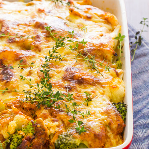 Broccoli, Cauliflower and Red Pepper Bake