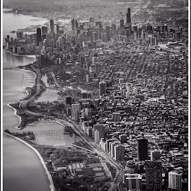 My Kind Of Town by Jebark Fineartphotography - City,  Street & Park  Skylines ( monochrome, black and white, black & white, lakeshore drive, aerial, chicago, city, the city, the loop )