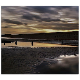 Seclusion by Sharon Knightly - Landscapes Beaches ( beach water groynes sunset sand pebbles skies reflections )